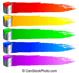 Paint buckets and strokes. - Set of 6 paint buckets, with...