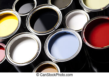 Paint buckets, paint and brush - Cans and paint and brushes ...
