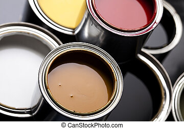 Paint buckets, paint and brush