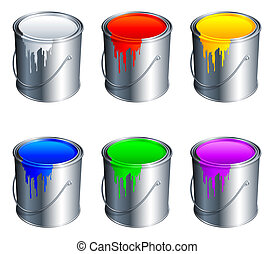Paint buckets. - Set of 6 paint buckets, with colour paint....