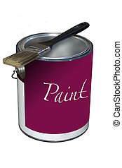 Paint Can - a paint can and brush on a white background