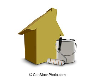 Paint can and house model