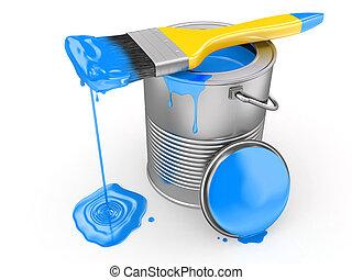 Paint can and paintbrush. 3d - Paint can and paintbrush on...
