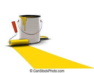 paint can and roller over white