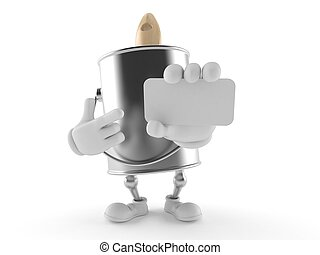 Paint can character holding blank business card