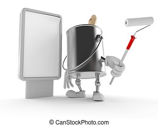 Paint can character with blank billboard