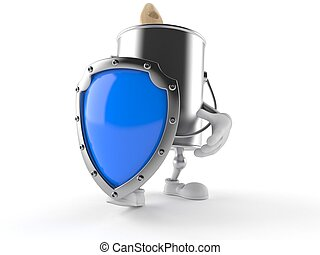 Paint can character with shield