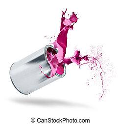 Paint can falls color splash
