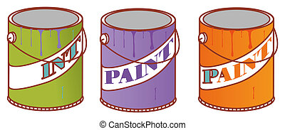Paint Can - illustration drawing of three color paint cans...