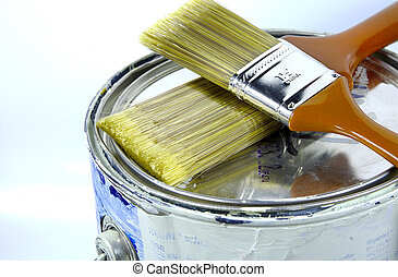 Paint Can and Paint Brushes