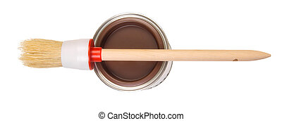 Paint can with brush - Brown paint can with brush, isolated ...