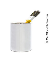 Paint can with brush