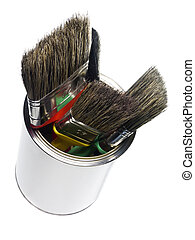Paint can with brushes