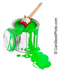 Paint can with dripping brush isolated on white
