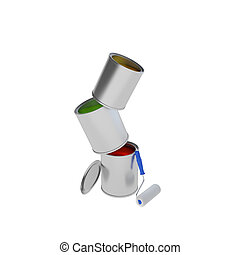 Paint Can with roller brush isolated on white