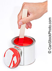 Paint can with stir wood