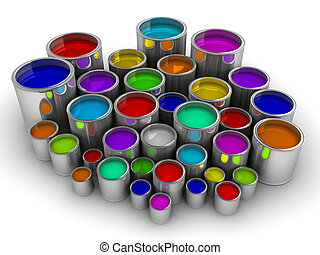 Paint cans 3 - A lot of colorful paint cans on white -...