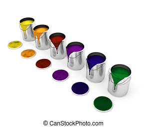 Paint cans - 3D render of dripping paint cans