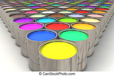 Paint Cans - An infinite array of paint cans filled with ...