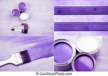 Paint cans and colored brushes on white background - Ultra...