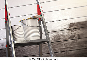 Paint cans and paint brush on the ladder with white painted wooden wall.