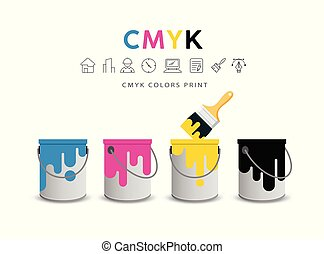 Paint cans and paint brushes vector concept design