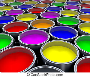 Paint cans - Background of lots of paint cans