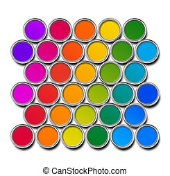 Paint cans color spectrum