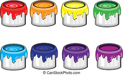 Colorful paint Cans. Illustration on white background