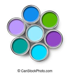 Paint cans cool colors palette