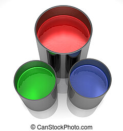 Paint cans isolated on a white background.