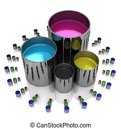 Paint cans on a white background