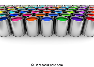 Paint cans on white