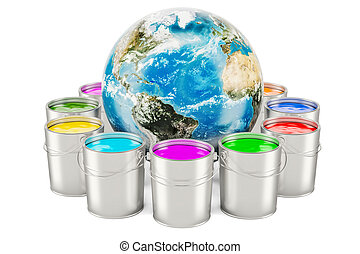Paint cans with Earth Globe, 3D rendering