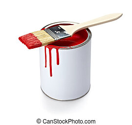paint color tin can and brush
