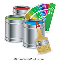 Paint Concept - Cans of paint in RGB colors with Color Guide...