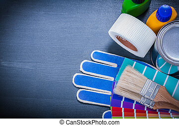 Paintbrush paint pot gloves and pantone samplers interior paint containers pantone fan protective gloves paintbrushes hous malvernweather Image collections