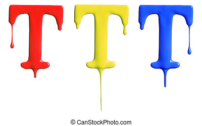 Paint dripping alphabet with 3 different variations in red,...