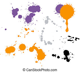 Paint drops in different shapes on the wite