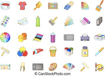 Paint icon set, cartoon style