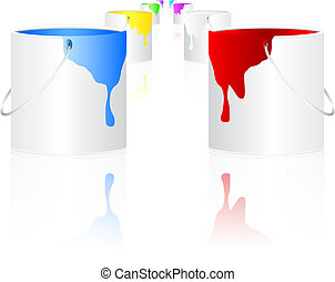 Illustration of buckets with paint over white background