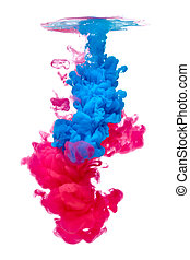paint in water color liquid blue red