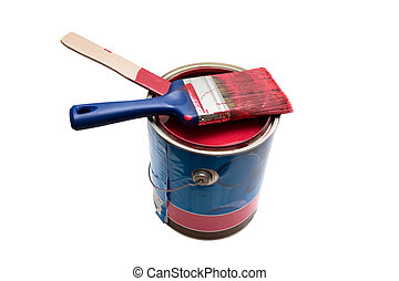 Isolated paint can and brush