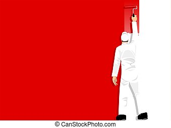 Paint It Red - An illustration of a man painting the wall