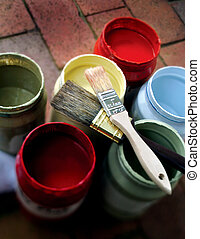 Paint Jars with 2 Brushes