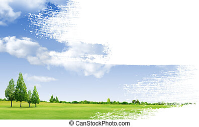 Paint landscape green grass with forrest background