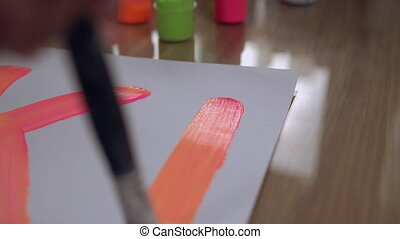 Paint layout on white paper