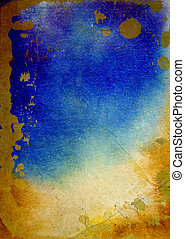 paint:, marrom, antigas, azul, abstratos, aquarela, padrões, amarela, papel, fundo, textured