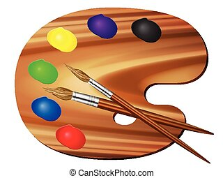 paint palette and brush - Paint palette and brush on a white...