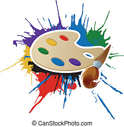 Paint, palette and brush - Vector image of paint, palette ...
